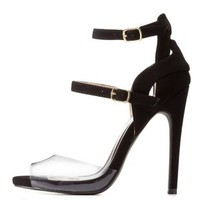 Black Qupid Lucite & Cut-Out Ankle Strap Heels
