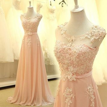 0003 Charming Elegant 2014 new design Chiffon Appliques evening dress long maxi plus size fashinal design