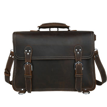 Men's Handmade Vintage Leather Briefcase Leather Backpack / Leather Messenger Bag(S126)