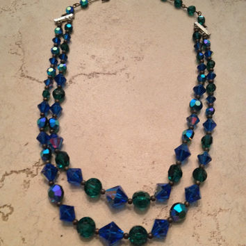 Vintage Aurora Borealis Necklace Crystal Waterfall Green Blue Peacock Jewelry