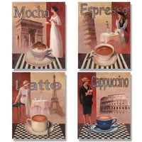 4 Coffee Posters Kitchen Cafe Decor Paris Art Print by Wallsthatspeak