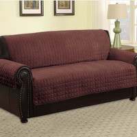 QUILTED MICROFIBER PET DOG COUCH SOFA FURNITURE PROTECTOR COVER, KASHI, BROWN
