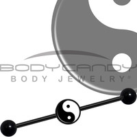 14 Gauge Black Anodized over Steel Yin Yang Industrial Barbell 37mm