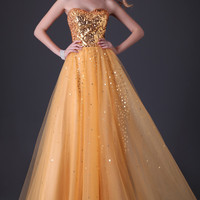 Strapless Shining Sequins Beaded Tulle Evening  Dress