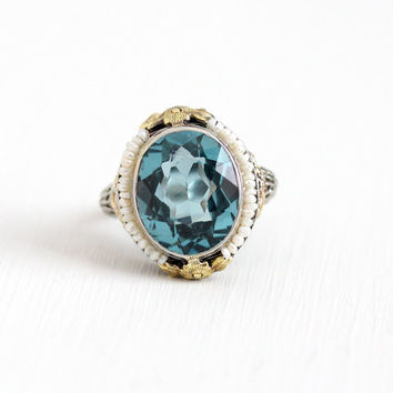 Antique Art Deco 14k White Yellow Rose Gold Created Blue Spinel & Seed Pearl Ring - Size 8 Vintage 1920s Filigree Flower Fine Jewelry