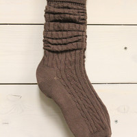 Cable Knit Boot Socks / Brown