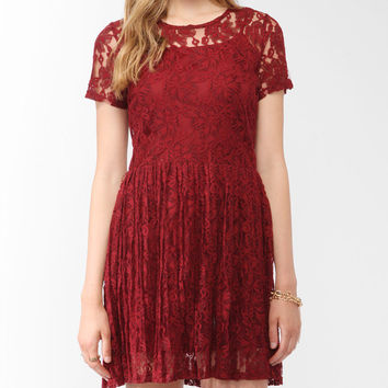 Pleated Lace Dress w/ Belt