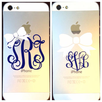 2 Inch Bow Monogram Phone Decal Sticker in Vine