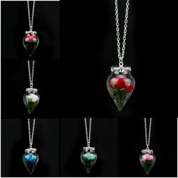 New Design Beauty and the Beast Necklace Beads shape Wishing Glass Rose Flower Pendant Necklace for women jewelry choker Collier