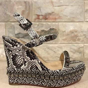 NIB Christian Louboutin Cataclou 120 Grey White Snake Wedge Sandal Heel 38 $995
