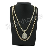 "B INITIAL BUBBLE PENDANT W/ 24"" MIAMI CUBAN /18"" TENNIS CHAIN NECKLACE"