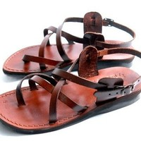 Unisex Adults/Children Genuine Leather Biblical Sandals / Flip flops (Jesus - Yashua) Style IV - Holy Land Market Camel Trademark