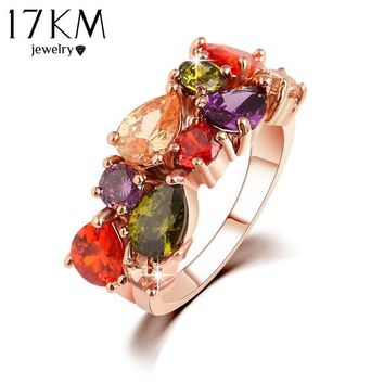 17KM Best Quality 2016 New Design Alloy Rose Gold Color Geometric Zircon Ring Wedding Colorful Crystal Rings Jewelry For Women