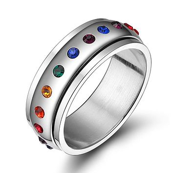 LBGT RING Rhinestone Rainbow Gay Jewelry Titanium Stainless Steel Engagement Rings For men & women Lesbian Bisexual LGBT Pride Ring