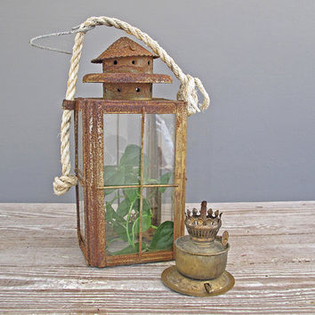 vintage lantern rusty crusty and fabulous by KatyBitsandPieces