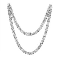 "Stainless Steel 14k White Gold Finish Iced Out 30"" Miami Cuban Link unique Lock Designer Chain"
