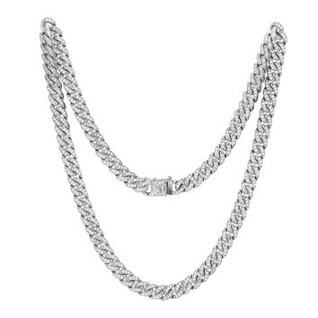 Stainless Steel 14k White Gold Finish Iced Out Miami Cuban Link unique Lock Designer Chain