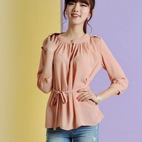 Kawaii Lolita Narrow Waist Three Quarter Sleeve Chiffon Shirt - Pink or Green - S M L XL from Tobi's Finds