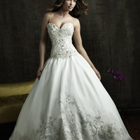 2011 Allure Bridal - White & Silver Beaded Embroidered Strapless Sweetheart Wedding Gown - 2 to 32 - Unique Vintage - Bridesmaid & Wedding Dresses