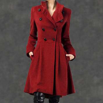 Red Military Coat - Fit-and-Flare Cashmere Wool Swing Coat with Cinched Waist and Large Turn-Back Cuffs (003)