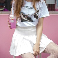 Michelangelo Cappella Sistina T Shirt Harajuku Ulzzang Tumblr Women T-shirt Kawaii Cotton T Shirt Femme Women Tshirts for Ladies