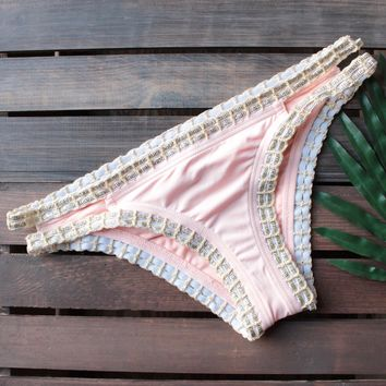 bikini lab - mix & match weaving on a jet plane hipster bikini bottoms - peach