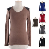 Casual Shoulder Leather Patch Round Neck Tight Pull Over Knit Sweater Shirt Top