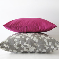 Set of two decorative pillow covers in light grey and magenta - 45x45cm (18x18inches) and 40x30cm (16x12inches)