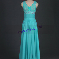 2014 long sage chiffon prom dresses with sequins,cheap beaded gowns for homecoming party,chic women dress in handmade hot.