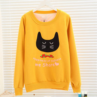 Campus wind cute kitten face printing female fleece