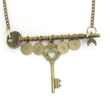 Skeleton key necklace, wire wrapped bronze skeleton key necklace, hand stamped LOVE, antiqued bronze chain.