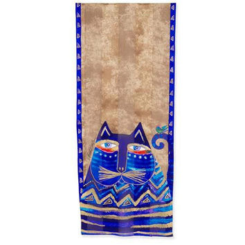 Laurel Burch Azul Cat Silk Art Scarf