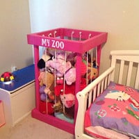 Hot pink wood stuffed animal zoo, my zoo, stuffed animals zoo, zoo for your kids animals, fun zoo, fun decor for your kids room, TOY BOX