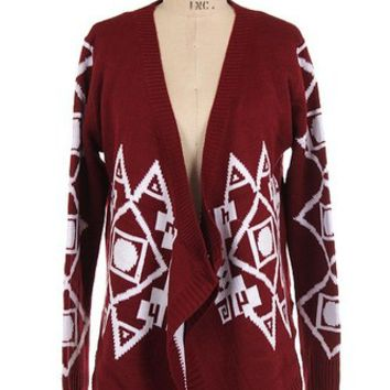 FALL New Tribal Aztec Burgundy Fireside Open Drape Cardigan Sweater ~ S M L