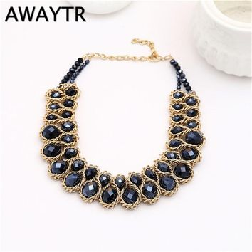 AWAYTR Vintage Necklace Collar Gold Chain Big Double Crystal Bead Choker Necklace Trendy Women Pendant Statement Necklaces Gift