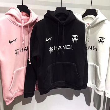 Nike swoosh x Chanel Print Hooded Pullover Tops Sweater Sweatshirts