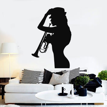 Vinyl Wall Decal Woman Silhouette Saxophone Music Jazz Stickers Unique Gift (ig4605)