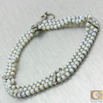 1920 Antique Art Deco Platinum 2mm Natural Salt Water Pearl 3 Strand Bracelet J8