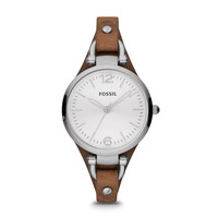 Georgia Three-Hand Leather Watch, Brown