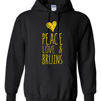 Peace Love And Bruins Hockey Hoodie Great Hoodie for Boston Bruins Fans Fashion Style Only Here