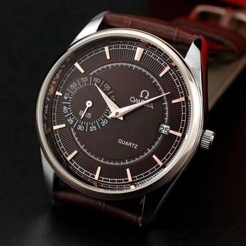 PEAP O013 Omega Quartz Simple Cowhide Strap Watches Maroon