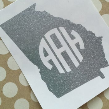 Glitter Monogrammed State Decal | Glitter Monogrammed State | Monogrammed State Car Decal | Car Decal | Monogrammed Car Decal