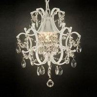 Versailles 1-light White/ Crystal Mini Chandelier | Overstock.com