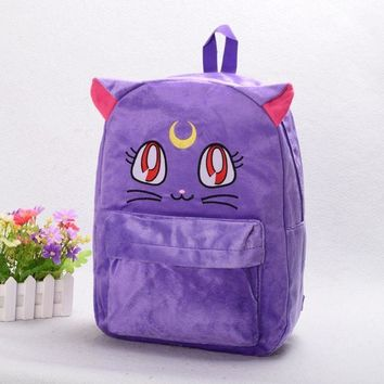 Sweet Girls Purple Luna Cat Bag Harajuku Sailor Moon Cotton Blend Backpack