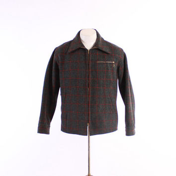 50s Men's PLAID Wool HUNTING JACKET / 1950s Zipper Pockets Game Pouch Workwear, L