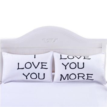 Cool 4 Styles Romantic Mr Mrs Pillow Case White Couple King Queen I Love You Pillowcase Pillow Cover Wedding Valentine's GiftAT_93_12
