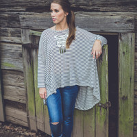 Over-Sized Stripe Top in Taupe