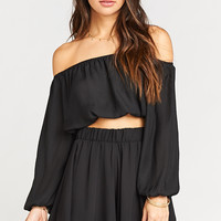 Lima Scrunch Top ~ Black Silky Satin