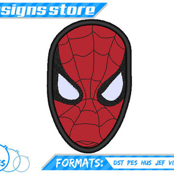SPIDERMAN  Face APPLIQUE EMBROIDERY  Machine  Design Pattern Super Hero Clipart Marvel Superhero Justice League