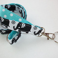 Key Chain Lanyard Id Holder Key Leash badge holder - black elephants aqua dots